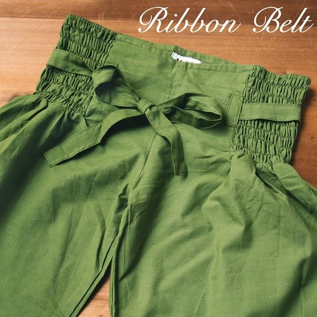 リボンベルトのアラジンパンツの写真2 - A:ダークグリーン:身長165�のスタッフの着用例です。