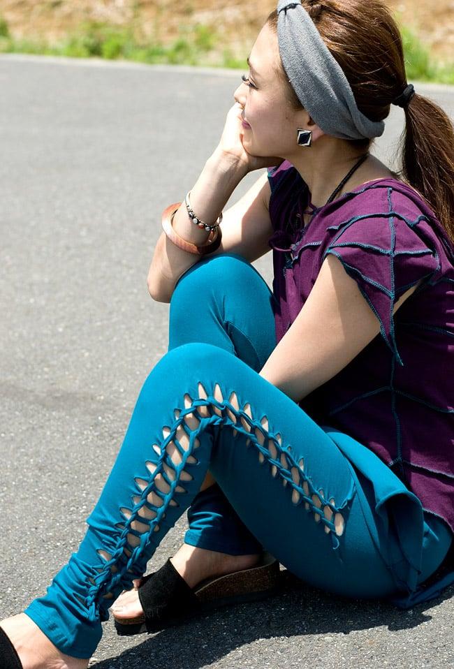 編み上げカッティングトライバルパンツの写真4 - D:ブルー