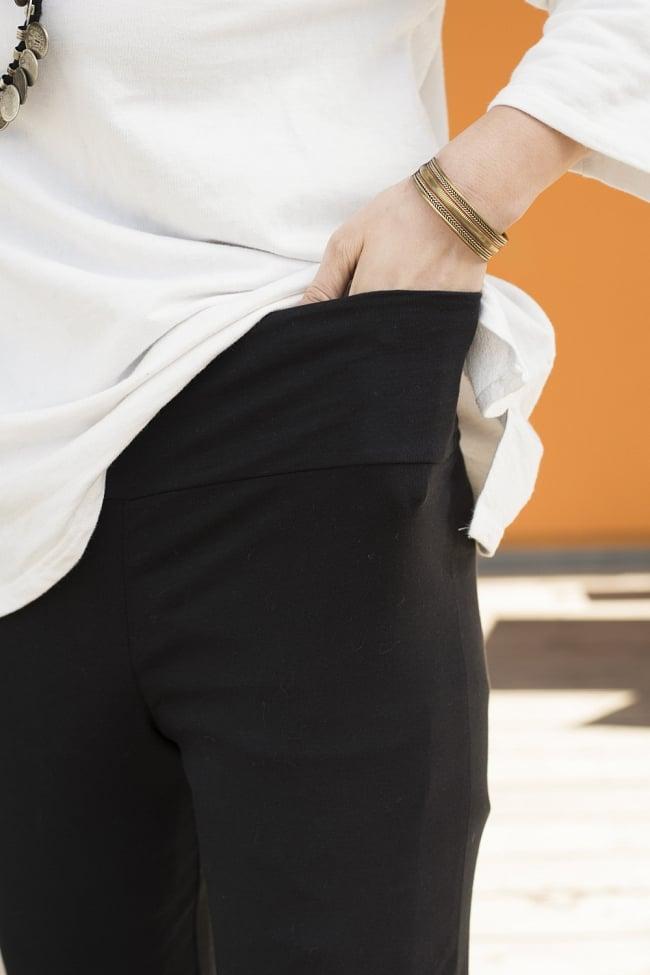 ストレッチ生地のブーツカットパンツ 4 - ウエストをはじめ、伸縮性のある生地でフィット感もバッチリ