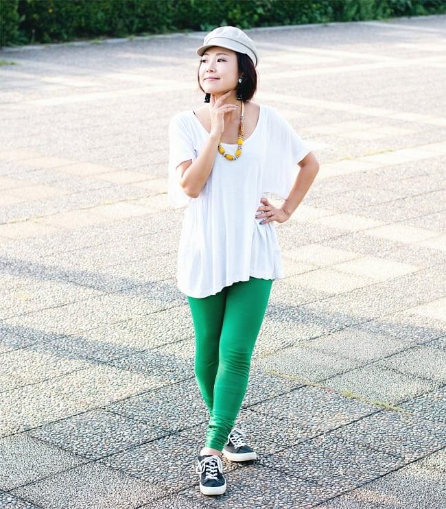 リラックスレギンスパンツ 動きやすく心地の良い軽やかさの写真7 - 【選択:H】濃緑
