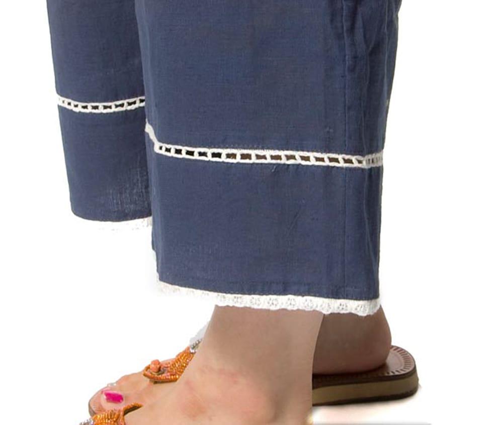 シンプルコットンパンツ 【ネイビーグレー】 3 - 裾をアップにしてみました。