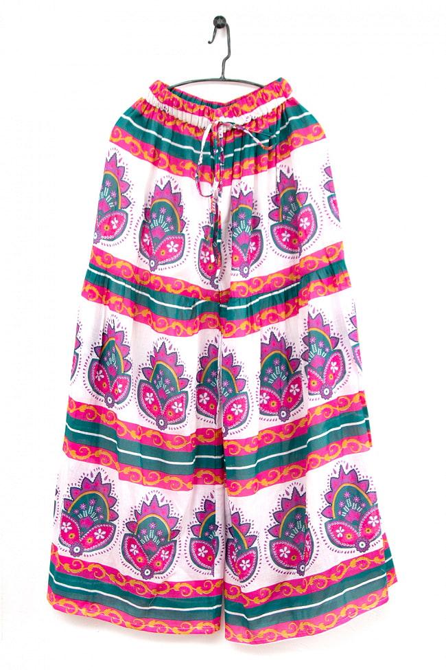 エスニックな伝統柄が個性的 コットンワイドパンツ 10 - 5:白×ピンク