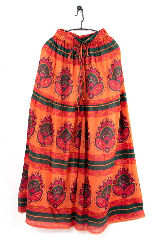 エスニックな伝統柄が個性的 コットンワイドパンツ 9 - 4:オレンジ
