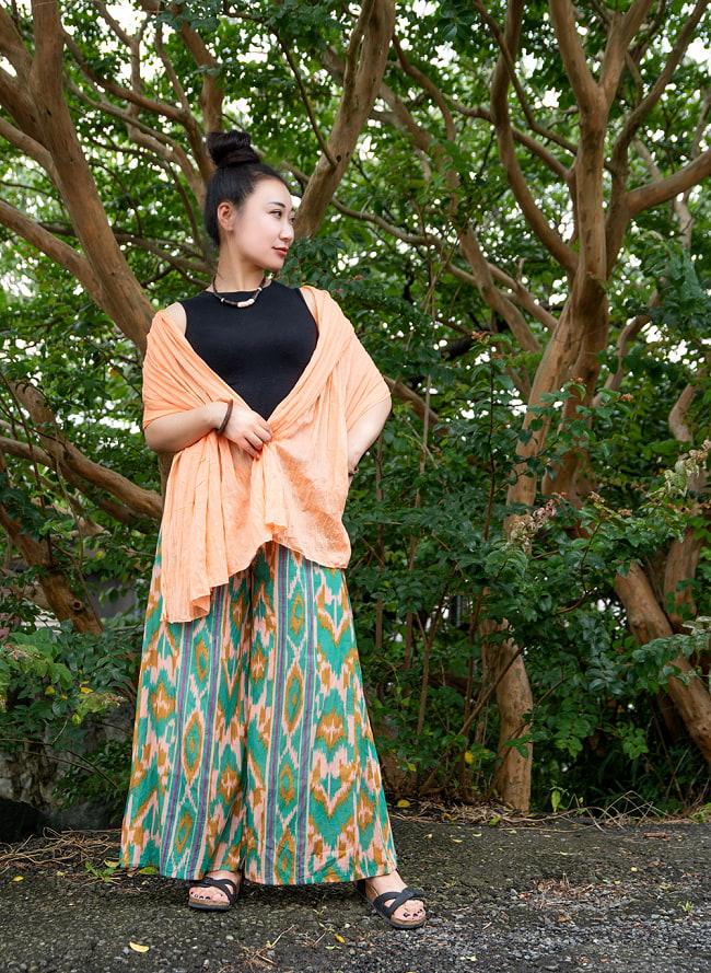 絣模様プリントのコットンワイドパンツ 5 - 身長162㎝の着用例です。