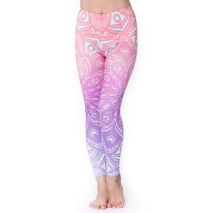 フルグラフィック マンダラ美脚ヨガレギンス - パステルピンク紫の商品写真