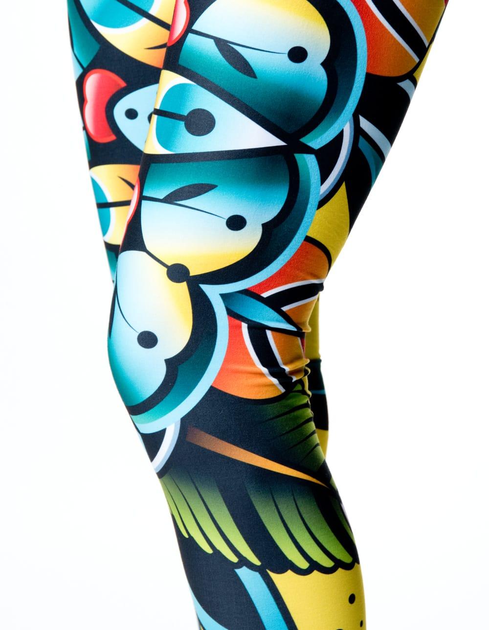 フルグラフィック美脚ヨガレギンス サイケデリック&パーティー系 - サイケデリックフラワー 6 - 肌触りの良い生地が使われています