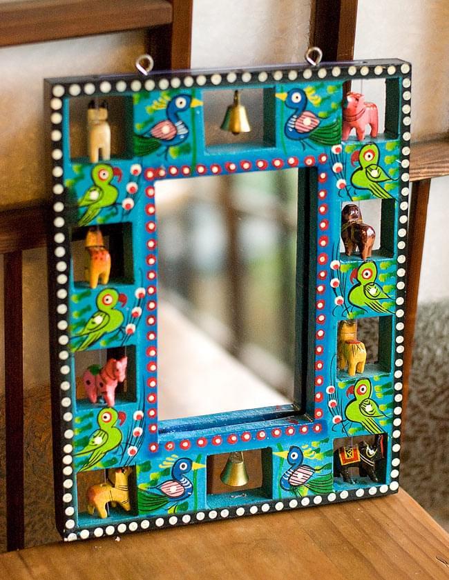 インドの動物 鏡&フォトフレーム【小・水色】の写真