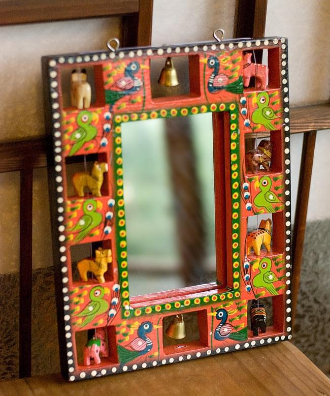 インドの動物 鏡&フォトフレーム【小・赤】の写真