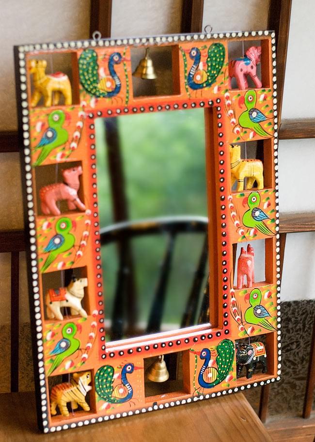 インドの動物 鏡&フォトフレーム【大・オレンジ】の写真