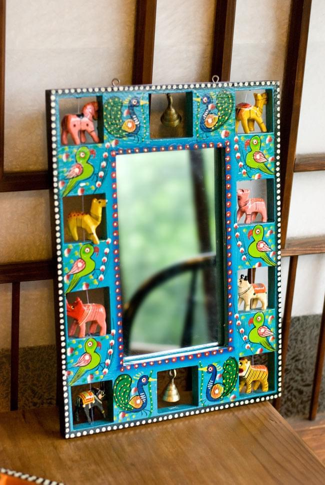 インドの動物 鏡&フォトフレーム【大・水色】の写真