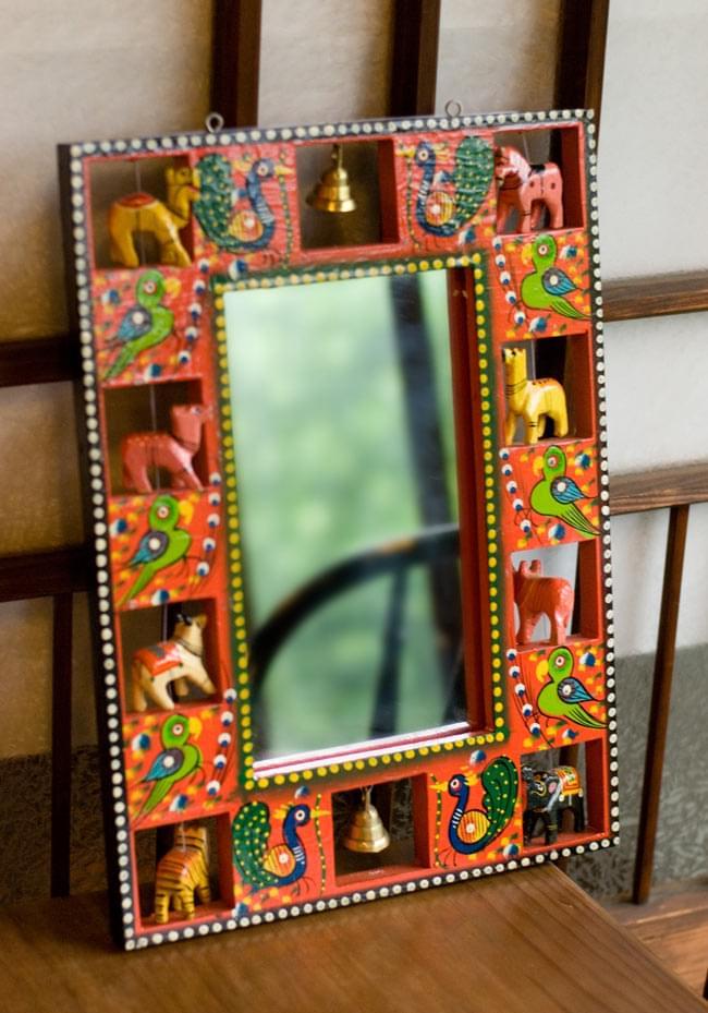 インドの動物 鏡&フォトフレーム【大・赤】の写真