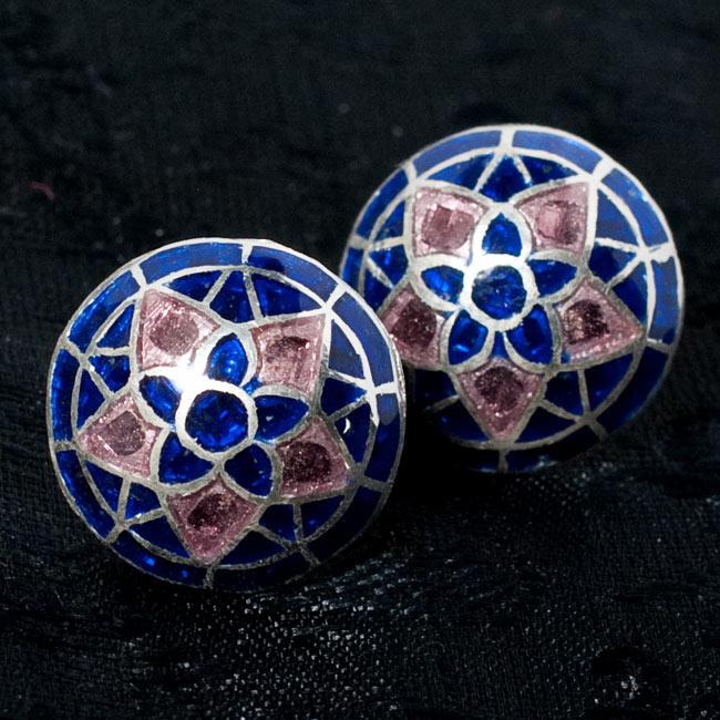 [シルバー925]ムガルのシルバーピアス[丸形(1.5cm)] - 黒×青×ピンク系 8 - 【選択 - D】の写真です。