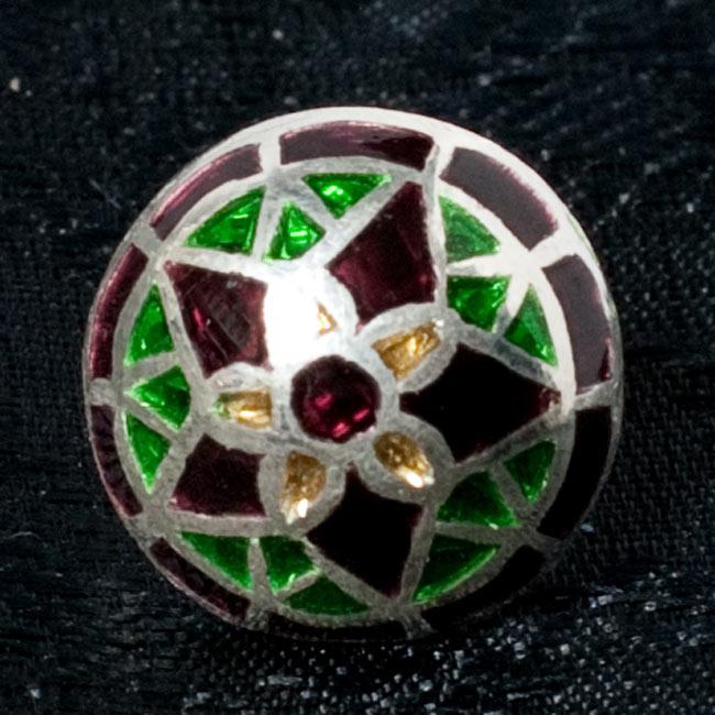 [シルバー925]ムガルのシルバーピアス[丸形(1.5cm)] - 黒×青×緑系 10 - 【選択 - F】の写真です。