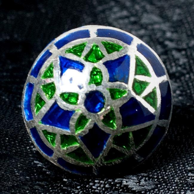 [シルバー925]ムガルのシルバーピアス[丸形(1.5cm)] - 黒×青×緑系 7 - 【選択 - C】の写真です。