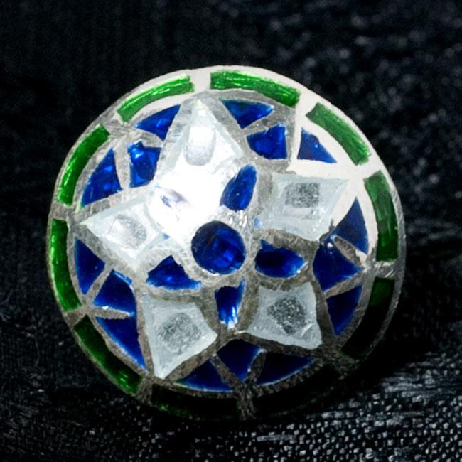 [シルバー925]ムガルのシルバーピアス[丸形(1.5cm)] - 黒×青×緑系 8 - 【選択 - D】の写真です。