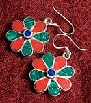 チベタンメタルピアス - お花 赤