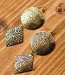 インドの伝統模様2連ピアス[黒]