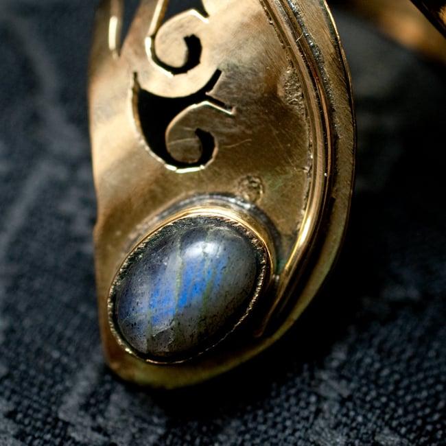 インドの伝統更紗デザイン 天然石 フリーサイズ リング 9 - 【選択:D】ムーンストーンはこちらです