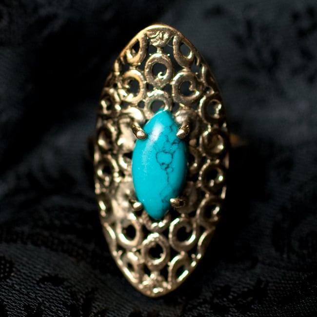 インドの伝統更紗デザイン オーバル天然石リング 7 - 【選択:C】ターコイズイミテーションはこのような石になります