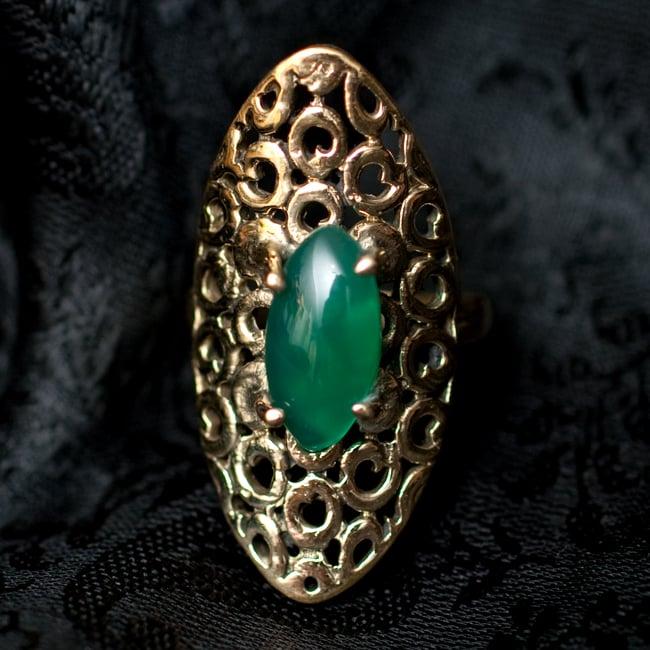 インドの伝統更紗デザイン オーバル天然石リング 8 - 【選択:D】マラカイトはこのような石になります