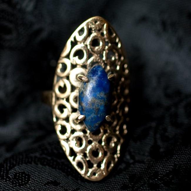インドの伝統更紗デザイン オーバル天然石リング 9 - 【選択:E】ラピスラズリはこのような石になります