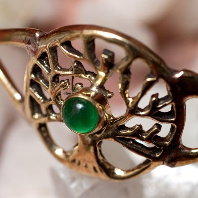 生命の木 Tree of Lifeの天然石付きメタルバングル 9 - 【選択:E】グリーンオニキス