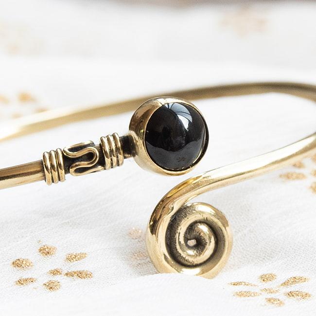 天然石とぐるぐるメタルバングル 8 - 【選択:E】ブラックオニキスはこちらです
