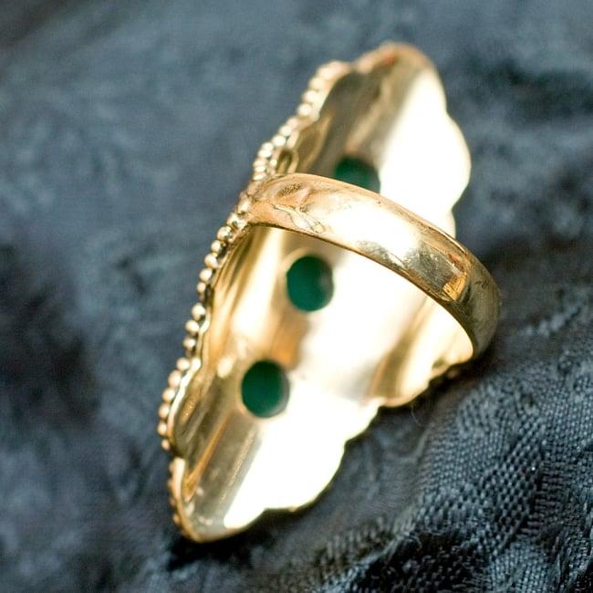 ペイズリー模樣ゴールド3連天然石ロングリング -長さ5cm 4 - 背面(指輪のてのひら面)はこのような感じです