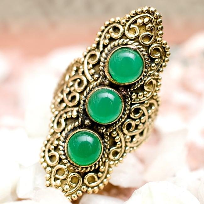 ペイズリー模樣ゴールド3連天然石ロングリング -長さ5cm 5 - とても可愛らしい指輪です