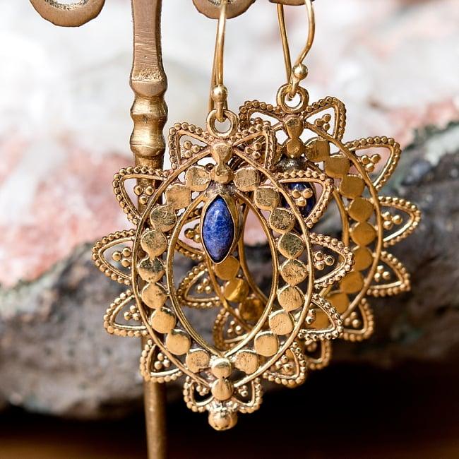 インド伝統模樣のゴールデンピアス(パワーストーン付) 10 - ラピスラズリ