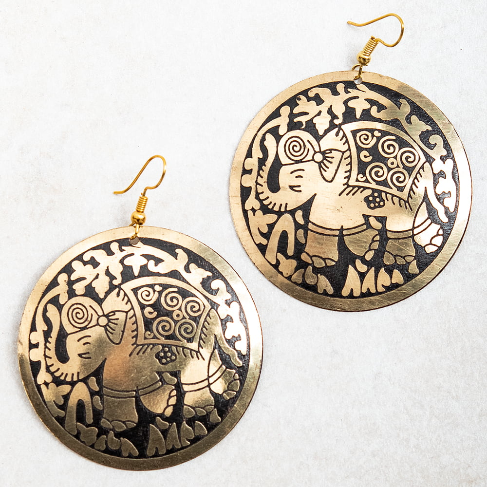 ゴールド メタル プレートのピアス Lサイズ 12 - 選択6:ゾウ
