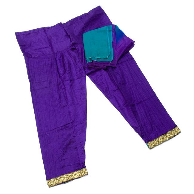 パンジャビ・ドレス3点セット - えんじの写真8 - パンツとストールです。(こちらは同デザインの色違いです。)