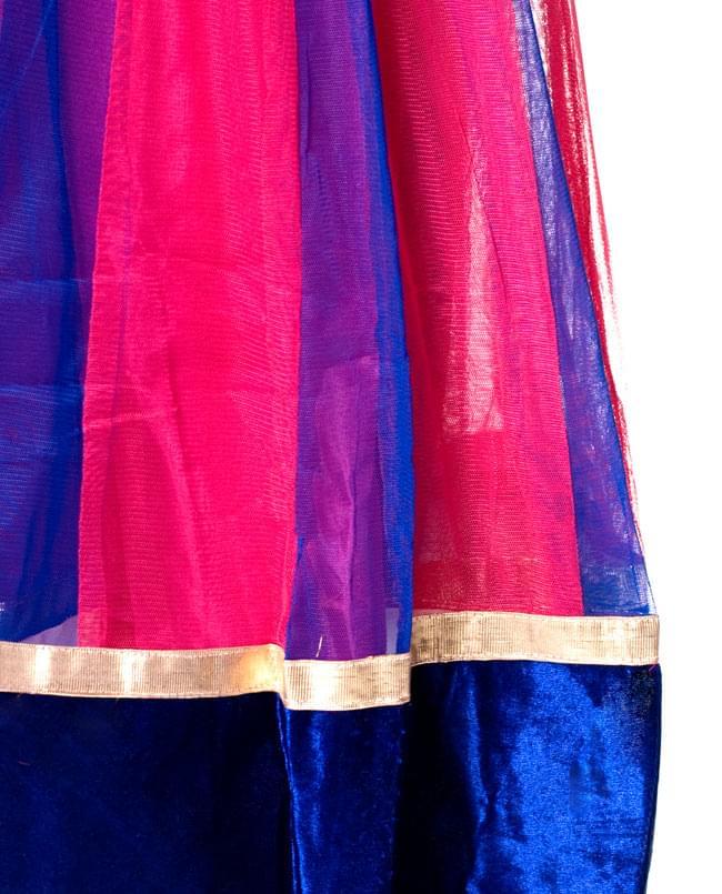 パンジャビ・ドレス3点セット - ネイビー×ピンク 5 - 裾部分をアップにしてみました。