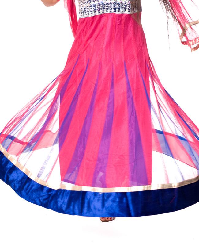 パンジャビ・ドレス3点セット - ネイビー×ピンク 7 - クルッと回ってみました。透け感がありとてもキレイです。
