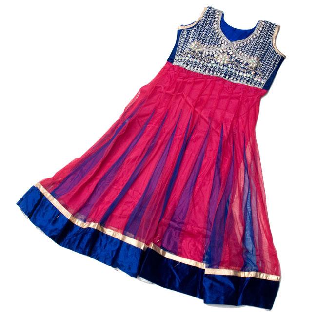 パンジャビ・ドレス3点セット - ネイビー×ピンク 8 - 広げてみました。