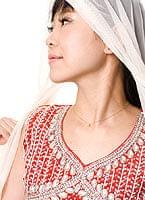 パンジャビ・ドレス3点セット - 赤×ベージュ