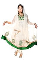 [インド品質]パンジャビ・ドレス3点セット - グリーンの商品写真