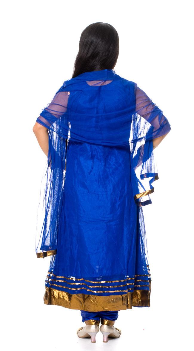 パンジャビ・ドレス3点セット - 青 3 - 後ろ姿です。