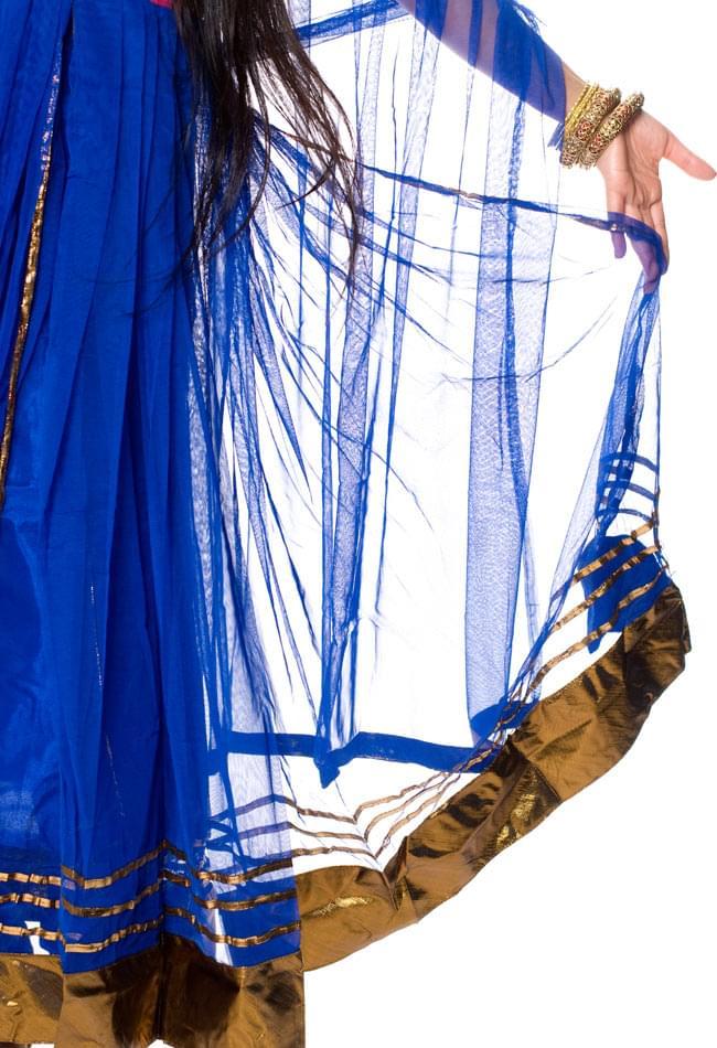 パンジャビ・ドレス3点セット - 青 5 - 裾部分をアップにしてみました。