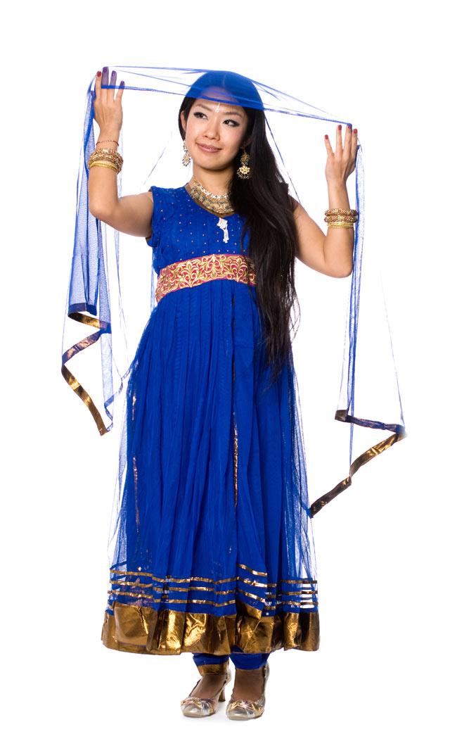 パンジャビ・ドレス3点セット - 青の写真