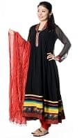 [ドゥパッタ不足品]パンジャビ・ドレス3点セット - ブラック