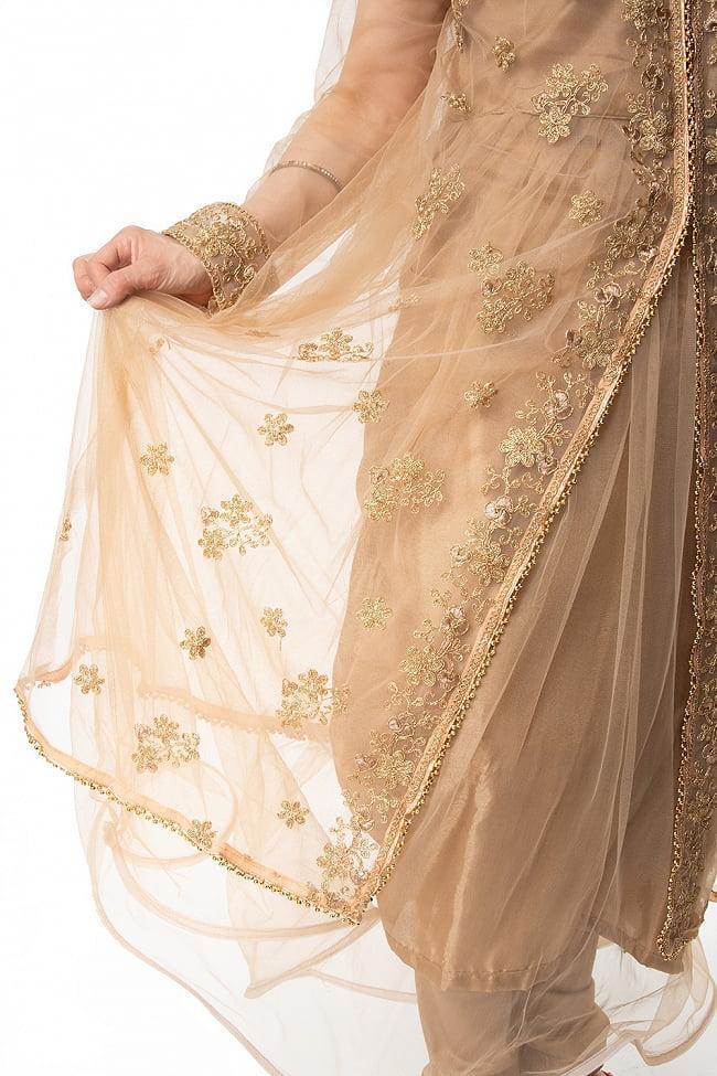 インドのゴージャスパンジャビ・ドレスセット 10 - 刺繍部分をアップにしてみました。丁寧に作られています。