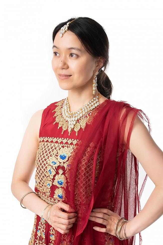 インドのゴージャスパンジャビ・ドレスセット 6 - 胸元をアップにしてみました。ゴージャスで素敵です。