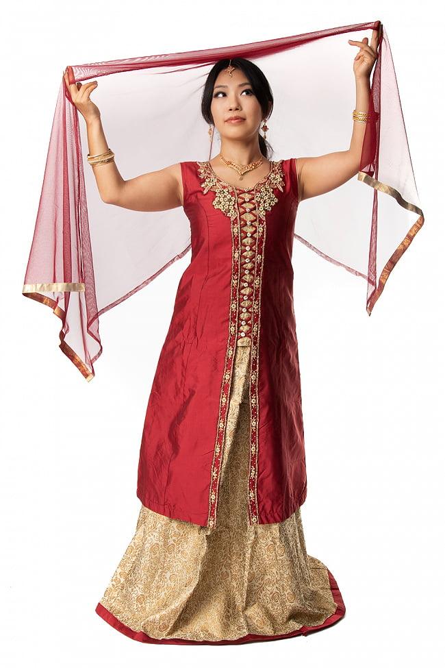 インドのゴージャスパンジャビ・ドレスセット 2 - 上下セットにショールが付属します。