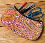 モン族の伝統刺繍小物入れ&ペンケース[細かいステッチ]