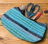 モン族の伝統刺繍小物入れ&ペンケース[水色]