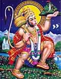 〔約30cm×約23.3cm〕インドのヒンドゥー神様ポスター - ハヌマーン