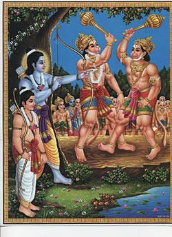 〔約30cm×約23.3cm〕インドのヒンドゥー神様ポスター - ハヌマーンの写真1