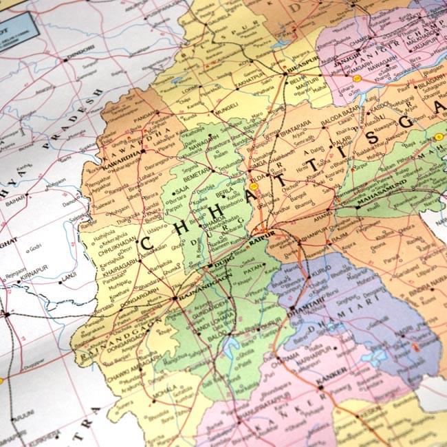 チャッティースガル州の地図 - 教育ポスター 2 - 部分拡大です