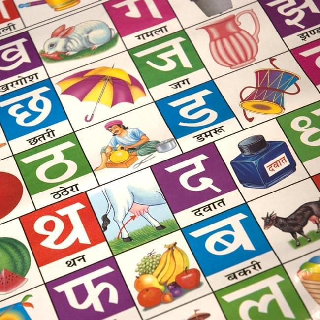 ヒンディ語のアルファベット - 教育ポスターの写真2 - 部分拡大です